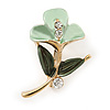 Small Dark Green/ Mint Green Enamel, Crystal Calla Lily Brooch In Gold Plating - 32mm L