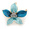 Small Light Blue/ Teal Enamel, Clear Crystal Flower Brooch In Gold Tone - 27mm