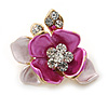 Small Fuchsia/ Pink Crystal Flower Brooch In Gold Tone - 25mm
