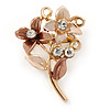 Small Bronze/ Magnolia Double Flower Enamel, Crystal Pin Brooch In Gold Tone - 30mm L