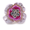 Fuchsia/ Pink Enamel, Crystal Rose Pin Brooch In Gold Tone - 25mm