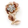 Bronze/ Magnolia Enamel, Crystal Flower Brooch In Gold Tone - 30mm