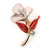 Small Pink/ Coral Enamel, Crystal Calla Lily Brooch In Gold Plating - 32mm L