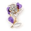 Purple/ Pale Enamel, Crystal Flower Brooch In Gold Tone - 30mm