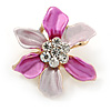 Small Fuchsia/ Pink Enamel, Clear Crystal Flower Brooch In Gold Tone - 27mm