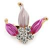 Small Fuchsia/ Pink Enamel, Crystal Leaf Pin Brooch In Gold Tone - 25mm