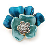 Light Blue/ Teal Crystal Blossom Pin Brooch In Gold Tone Metal - 20mm