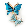 Small Blue Crystal Butterfly Brooch In Gold Tone - 30mm