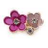 Small Fuchsia/ Pink Two Daisy Crystal Floral Brooch - 25mm L