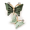 Small Mint/ Dark Green Crystal Butterfly Brooch In Gold Tone - 30mm