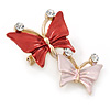Small Coral/ Pink Crystal Butterfly Brooch In Gold Tone - 30mm