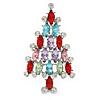 Multicoloured Crystal Christmas Tree Brooch In Rhodium Plating - 65mm L