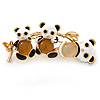 Black/ White Enamel Triple Panda Brooch In Gold Plating - 50mm L