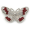 Clear/ Red Austrian Crystal Butterfly Brooch In Rhodium Plating - 48mm L