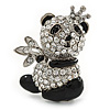 Crystal, Black Enamel Quinn Panda Bear Brooch In Rhodium Plated Metal - 35mm