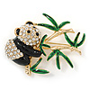 Black/ Green Enamel, Clear Crystal Panda Bear Brooch In Gold Plating - 50mm L
