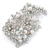 Oversized Bridal White Simulated Pearl & Clear Crystal Floral Brooch In Silver Plating - 90mm L