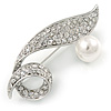 Pave Set Clear Crystal, White Glass Pearl Leaf Brooch In Rhodium Plating - 60mm L