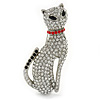 Pave Set Crystal Cat Brooch In Rhodium Plating - 50mm L