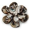Black Shell Flower Brooch - 75mm