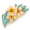 Cream/ Yellow/ Light Green Daffodil Floral Brooch In Gold Plating - 50mm L