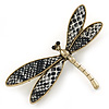 Gold Tone Black/ White Snake Style Faux Leather Dragonfly Brooch - 70mm W