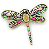 Multicoloured Acrylic Bead, Crystal Dragonfly Brooch In Antique Gold Tone - 75mm L