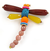 Handmade Large Semiprecious Stone Dragonfly Brooch In Silver Tone - 95mm L
