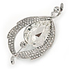 Clear Glass Stone Leaf Brooch In Rhodium Plated Metal - 60mm L