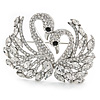 Clear Austrian Crystal Two Swans Brooch In Rhodium Plating - 60mm
