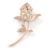 Exquisite Clear Austrian Crystal, Cz Rose Brooch In Gold Plated Metal - 70mm L