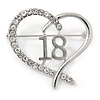 Rhodium Plated Clear Crystal Open Cut Heart ''18'' Brooch - 35mm W