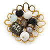 Black, Grey, White Glass, Resin Bead Floral Handmade Brooch In Gold Tone - 45mm L