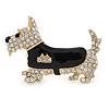Gold Plated Clear Austrian Crystal, Black Enamel Scotty Dog Brooch - 55mm L