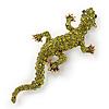 Olive Green Austrian Crystal Lizard Brooch In Gold Tone - 50mm L