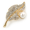 Classic Crystal, Pearl Leaf Brooch In Gold Plating - 50mm L