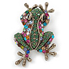 Vintage Inspired Multicoloured Austrian Crystal Frog Brooch In Antique Gold Tone - 35mm L