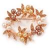 White/ Brown/ Light Orange Faux Pearl, Crystal Wreath Brooch In Rose Gold Tone Metal - 55mm W