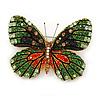 Pale Gree/ Emerald Green/ Orange/ Black  Austrian Crystal Butterfly Brooch In Gold Tone - 50mm W