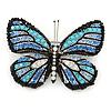 Black/ Sky Blue/ Violet Blue/ Milky White Austrian Crystal Butterfly Brooch In Silver Tone - 50mm W