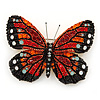 Black/ Orange/ Red/ Milky White Austrian Crystal Butterfly Brooch In Gold Tone - 50mm W