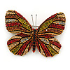 Olive/ Orange/ Red/ Black Austrian Crystal Butterfly Brooch In Gold Tone - 50mm W