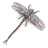 Lavender/ Purple/ Pink Enamel Austrian Crystal Dragonfly Brooch/ Pendant With Moving Tail In Silver Tone Metal - 85mm L