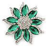 Green/ Clear Crystal Flower Corsage Brooch In Silver Tone - 55mm D