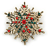 Vintage Inspired Red/ Green/ Clear Crystal Christmas Snowflake Brooch In Antique Gold Tone Metal - 40mm D