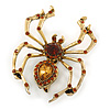 Vintage Inspired Amber Crystal Spider Brooch In Antique Gold Tone Metal - 50mm L