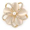 Neutral Cat Eye Stone, Crystal Flower Brooch In Gold Tone Metal - 40mm Across