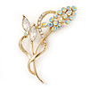 Clear/ AB Crystal Floral Brooch In Gold Plating - 65mm L