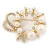 Gold Tone Clear/ Ab Crystal, Cream Faux Pearl Wreath Brooch - 50mm W