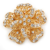 Bridal/ Wedding/ Prom 3D Clear Crystal, Filigree Flower Brooch In Gold Tone - 53mm D
